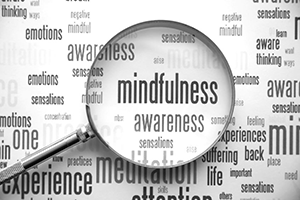 words related to mindfulness under a magnifying glass